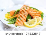 grilled salmon with asparagus ... | Shutterstock . vector #74622847