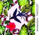 fashion print. watercolor... | Shutterstock . vector #746231257