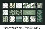 green leave patterns background ... | Shutterstock .eps vector #746234347
