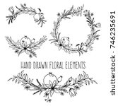hand drawn floral outlined... | Shutterstock .eps vector #746235691