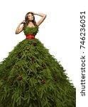 christmas tree dress  woman... | Shutterstock . vector #746236051
