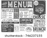 brunch food menu for restaurant ... | Shutterstock .eps vector #746237155