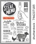 steak menu for restaurant and... | Shutterstock .eps vector #746237185