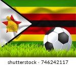 zimbabwe flag and soccer ball | Shutterstock .eps vector #746242117