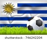 uruguay flag and soccer ball | Shutterstock .eps vector #746242204