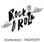 rock and roll. hand drawn... | Shutterstock .eps vector #746245249