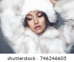 fashion studio portrait of... | Shutterstock . vector #746246605