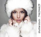 fashion studio portrait of... | Shutterstock . vector #746246629