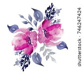 watercolor hand drawn floral...   Shutterstock . vector #746247424