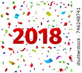 happy new year 2018 background. ... | Shutterstock .eps vector #746248741