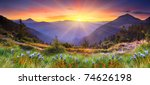 Stock photo majestic sunset in the mountains landscape hdr image 74626198
