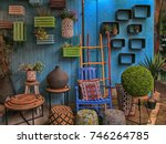 vintage colorful furniture and... | Shutterstock . vector #746264785