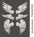set of illustrations of angelic ... | Shutterstock . vector #746265301