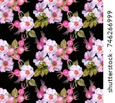 pattern of watercolor dog roses | Shutterstock . vector #746266999