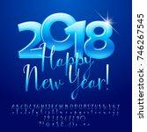 vector glossy blue greeting... | Shutterstock .eps vector #746267545
