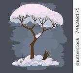 winter cartoon tree in snow...   Shutterstock .eps vector #746268175