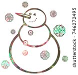 contour snowman and snowflakes... | Shutterstock .eps vector #746272495