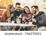 friends having a coffee... | Shutterstock . vector #746275021
