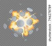 silver coin fire fog massive... | Shutterstock .eps vector #746278789