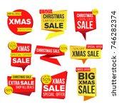 christmas sale banner set... | Shutterstock .eps vector #746282374