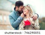 couple in love.man surprising... | Shutterstock . vector #746290051