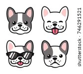 Stock vector french bulldog hand drawn cartoon face set cute frenchie puppy drawing vector illustration 746291521