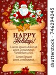 christmas greeting card on... | Shutterstock .eps vector #746294245