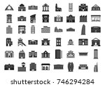 building icon set. simple set... | Shutterstock .eps vector #746294284