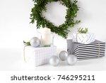 modern christmas decor. black ... | Shutterstock . vector #746295211