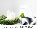 modern christmas gifts and... | Shutterstock . vector #746295265