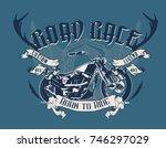vintage motorcycle print design ... | Shutterstock .eps vector #746297029