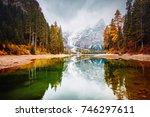 scenic image of alpine lake... | Shutterstock . vector #746297611