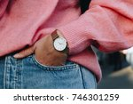 close up fashion details  young ... | Shutterstock . vector #746301259