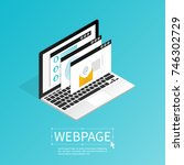 create website webpage design... | Shutterstock .eps vector #746302729
