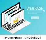 create website webpage design... | Shutterstock .eps vector #746305024
