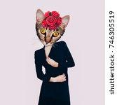 contemporary art collage. retro ... | Shutterstock . vector #746305519