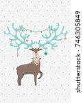 wonderful deer with the... | Shutterstock .eps vector #746305849
