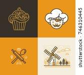 vector set of logo design... | Shutterstock .eps vector #746310445