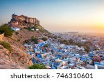 the blue city and mehrangarh... | Shutterstock . vector #746310601