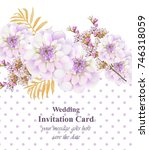 vintage floral card. beautiful... | Shutterstock .eps vector #746318059