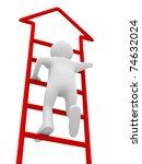 man walks upstairs on white background. Isolated 3D image - stock photo