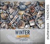 cartoon vector doodles winter... | Shutterstock .eps vector #746324251