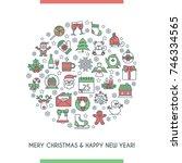 merry christmas banner.... | Shutterstock .eps vector #746334565