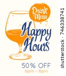 colorful happy hour signs...   Shutterstock .eps vector #746338741