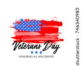 veterans day with usa flag...   Shutterstock .eps vector #746340985