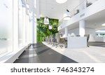 office workplace. green wall in ... | Shutterstock . vector #746343274