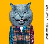 contemporary art collage.... | Shutterstock . vector #746344525