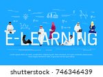 e learning concept. young... | Shutterstock . vector #746346439