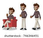 set of hipster businessman... | Shutterstock .eps vector #746346451
