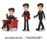 set of businessman in black... | Shutterstock .eps vector #746346487